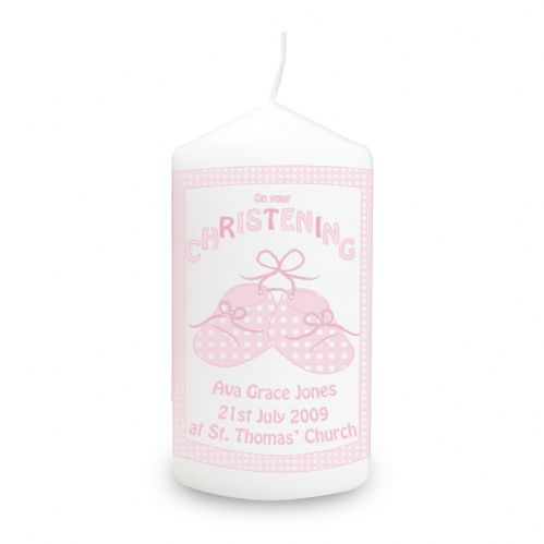 Personalised Bootee Pink Christening Candle
